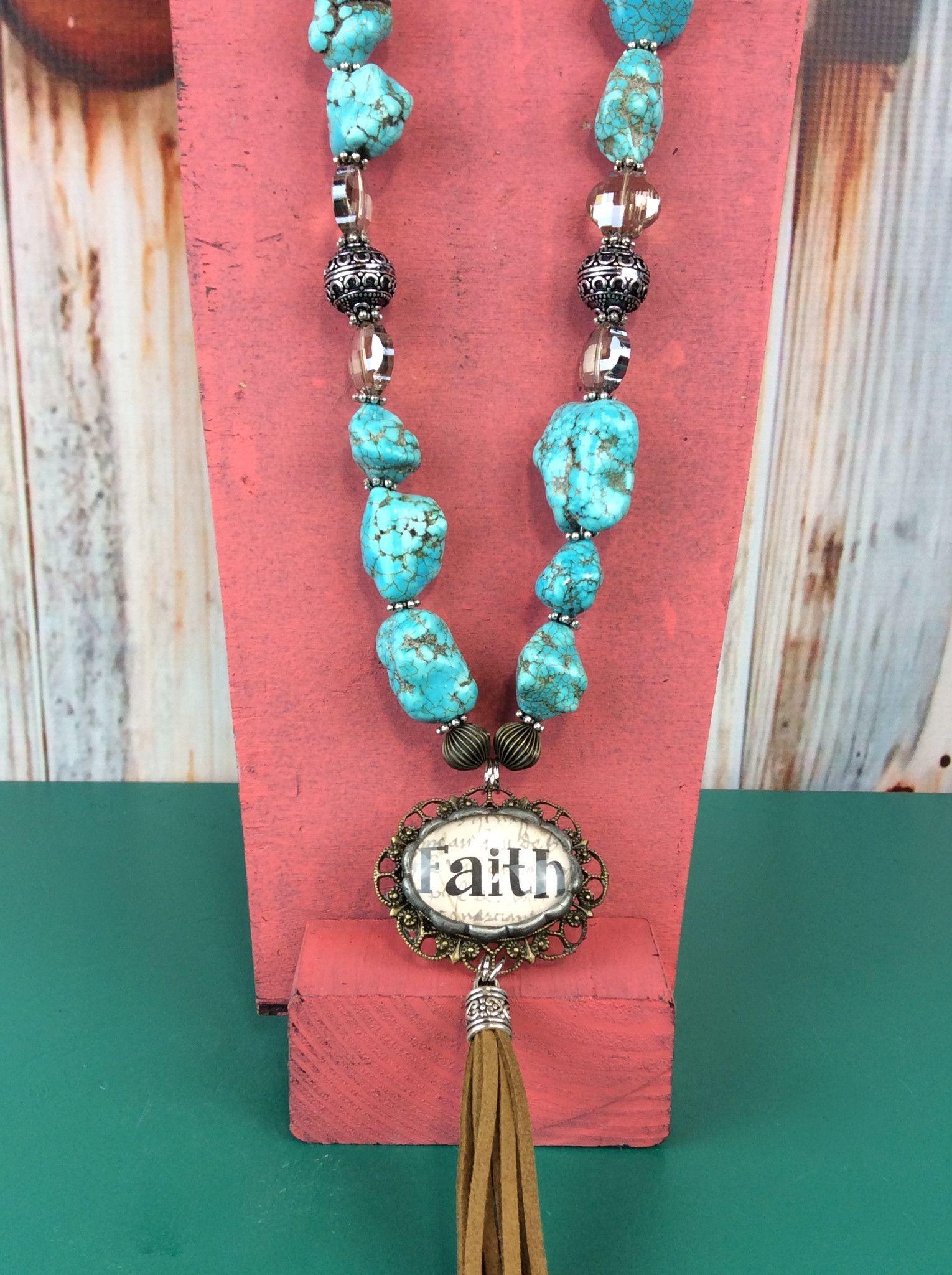 Chunky Turquoise Necklace With Tassel - Faith - NEK825TU