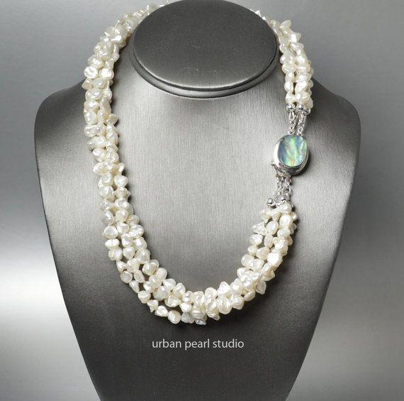 "20/"" Black Keshi Pearl Freeform Necklace CZ Clasp"