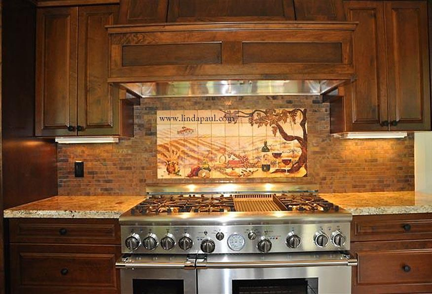 Copper color or copper backsplash installation pictures for Backsplash tile mural