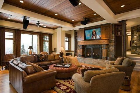 A Confortable Living Room Interiores De Cabanas Casas De Un Piso Decoracion De Interiores