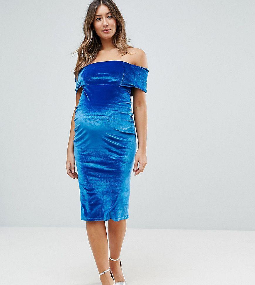 28cd4a450fa8 Maternity Deep Off The Shoulder Bardot Midi Bodycon Dress in Velvet ...