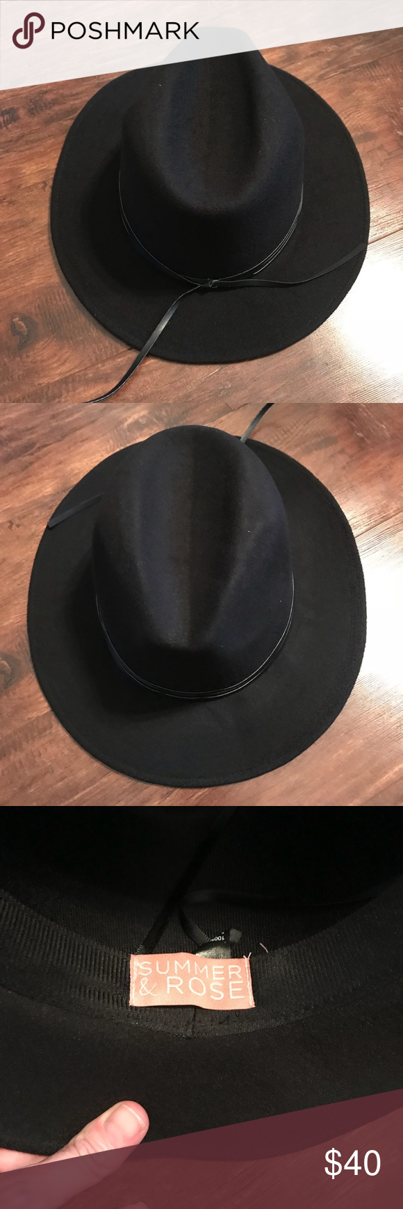 3ffa3ad1f78fe Brand new summer and rose black felt hat Perfect for festival season or all  year round summer and rose Accessories Hats