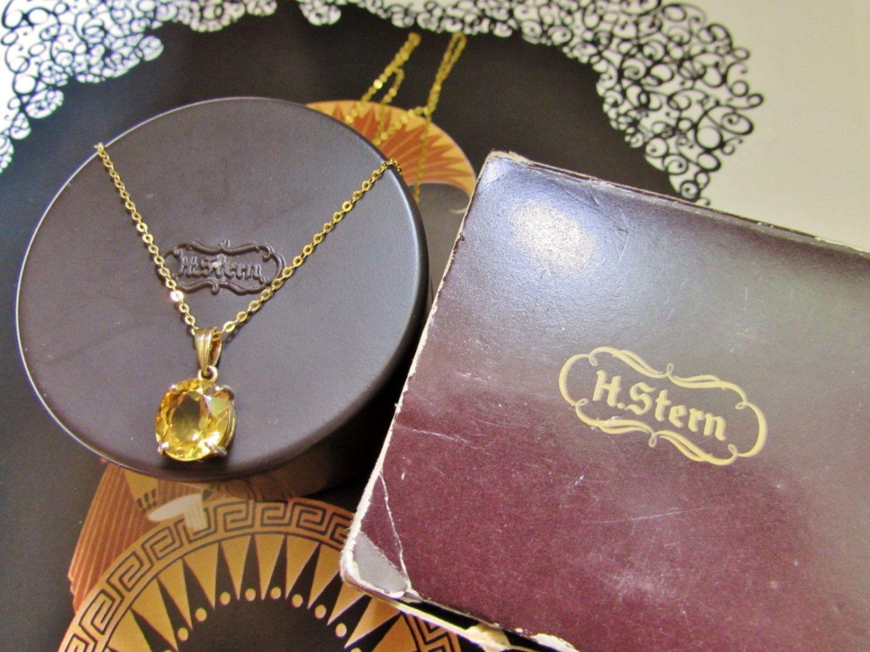 Vintage Designer H. Stern 18k yellow Gold Genuine Citrine Pendant Necklace - 18k H Stern Oval Sunrise Citrine Necklace Signed In Box by GranvilleGallery on Etsy