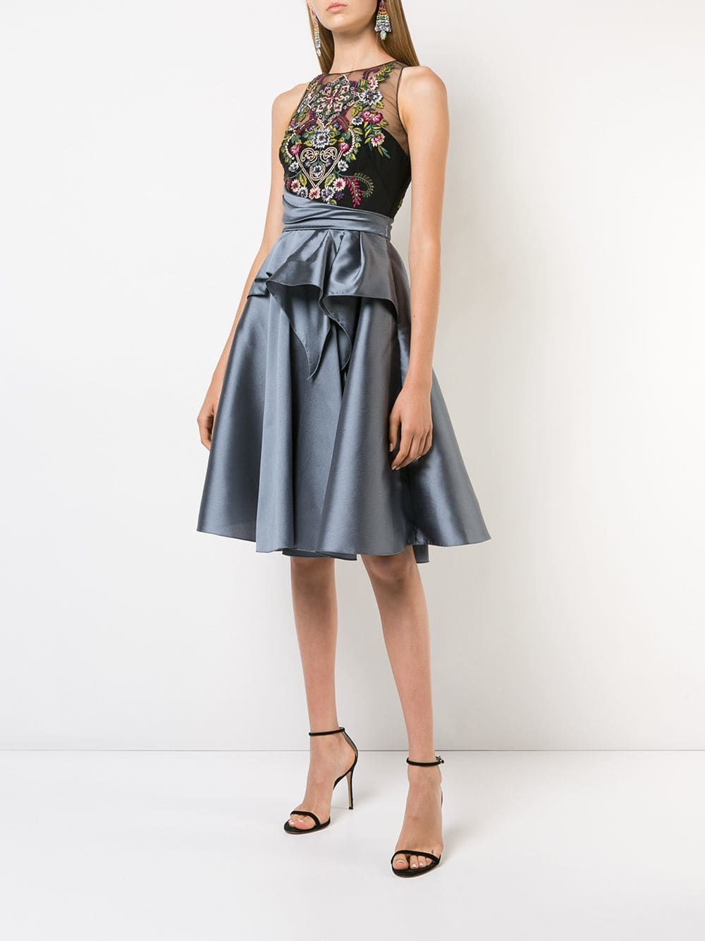 a024b396bd Marchesa Notte Embroidered Top Flared Dress | Marchesa | Flare dress ...