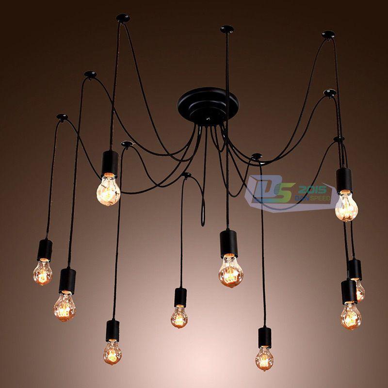 Details About Vintage Edison Industrial Style DIY Chandelier Retro Pendant Light Ceiling Lamps
