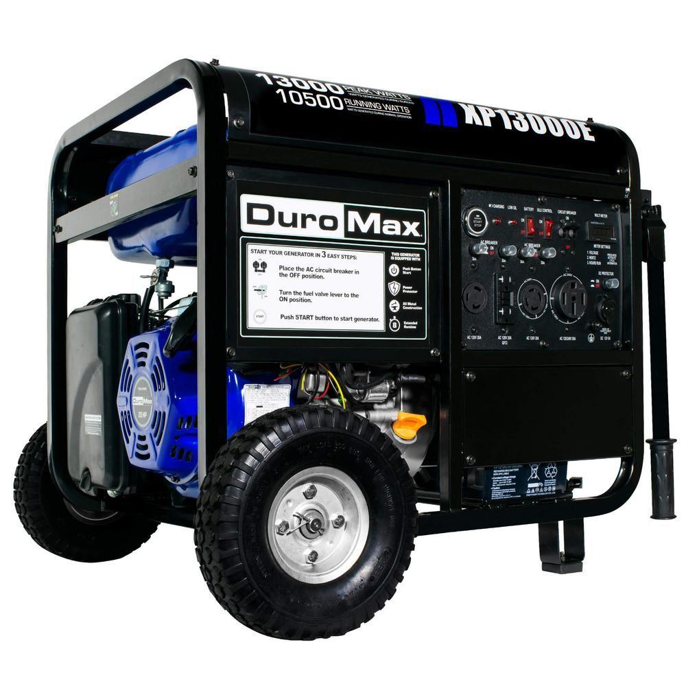 Duromax 13000-Watt/10500-Watt Portable Gasoline Powered Push Button