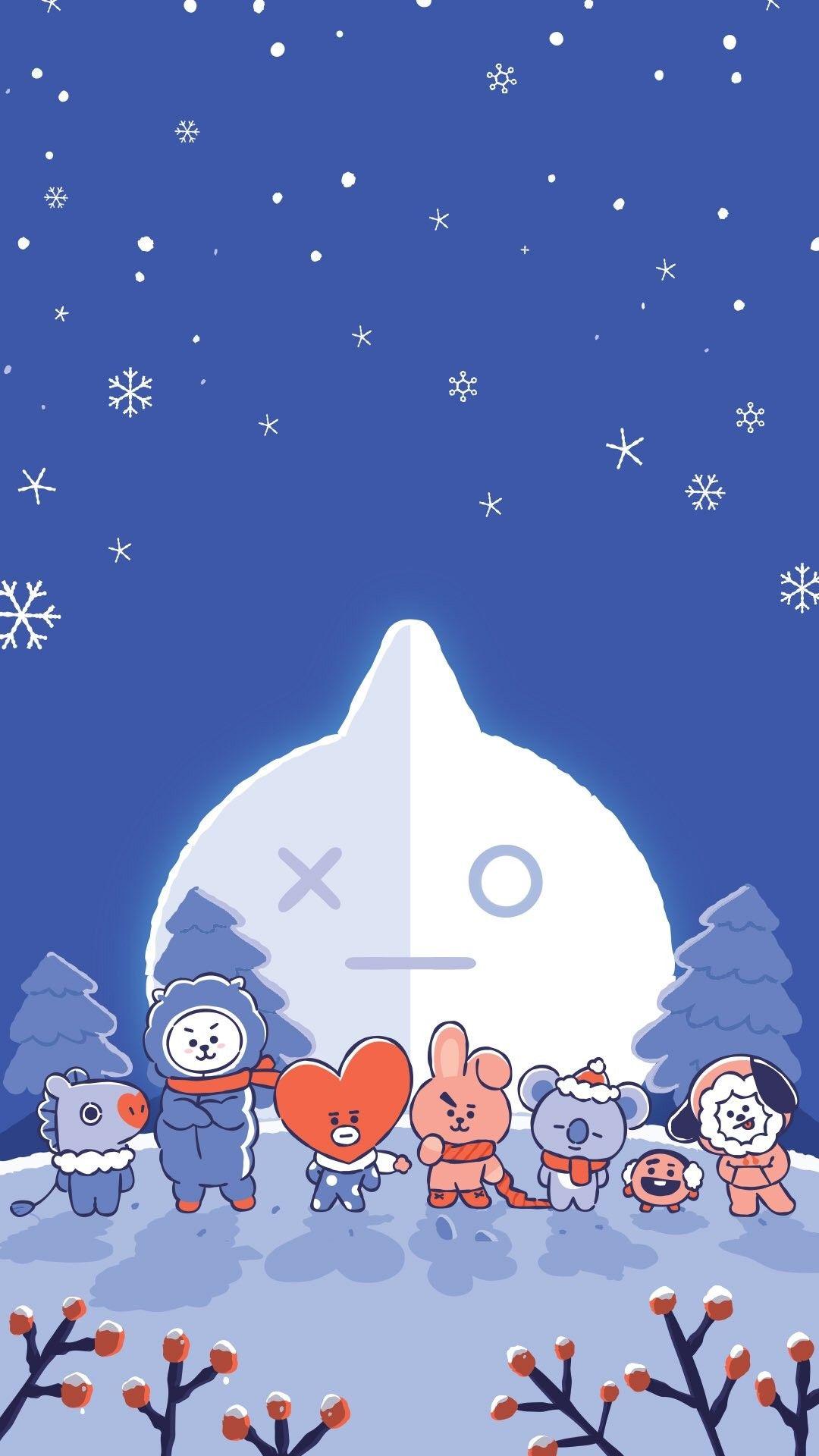 Let_It_Snow Wallpaper HD Lockscreen LineFriends BT21