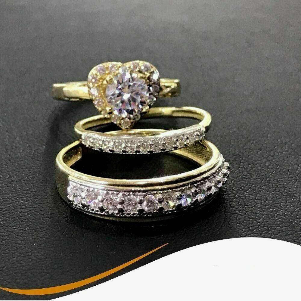 14K Yellow Gold Over His Her Heart Shape Diamond Wedding