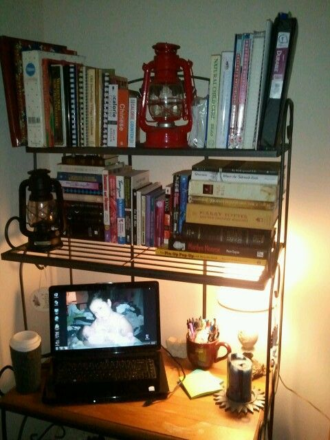 I Took A Bakers Rack And Turned It Into A Book Nook And Desk