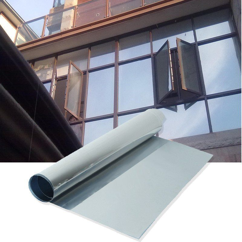 Silver Window Film One Way Mirror Insulation Sticker Solar Reflective Sunscreen Privacy Tint Wall Glass Film Pelicula Para Ventanas Espacios Abiertos Ventanas