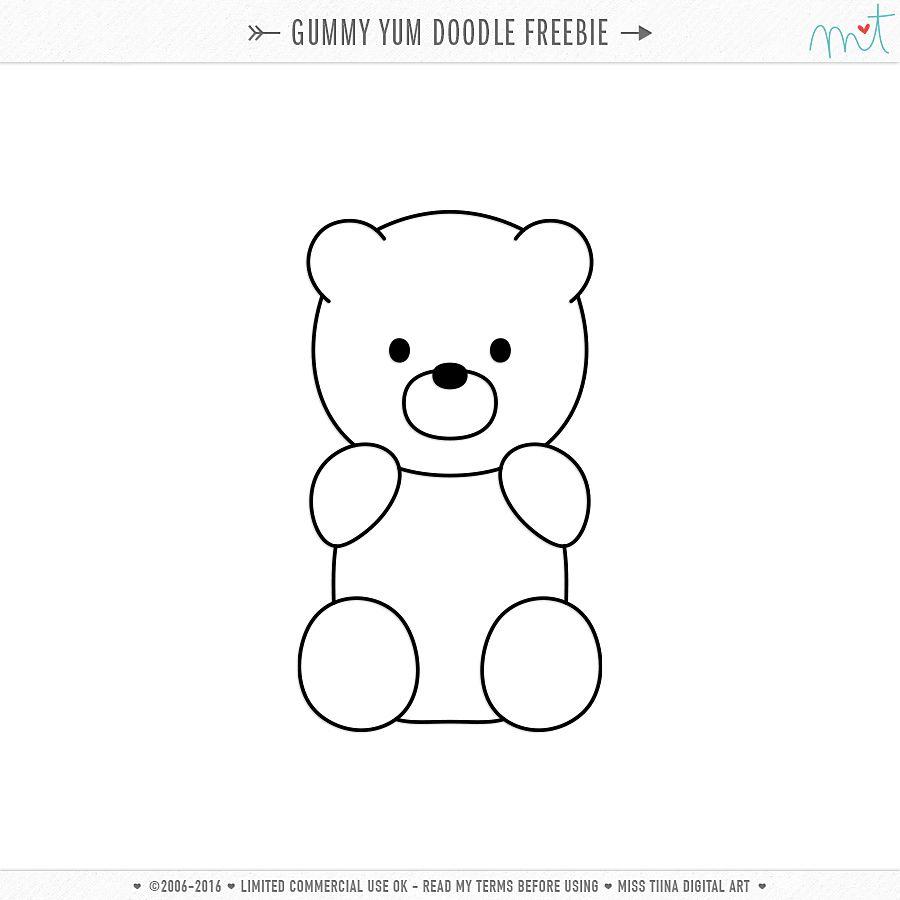 Free Cu Gummy Yum Vectors Doodle Bear Coloring Pages Doodles