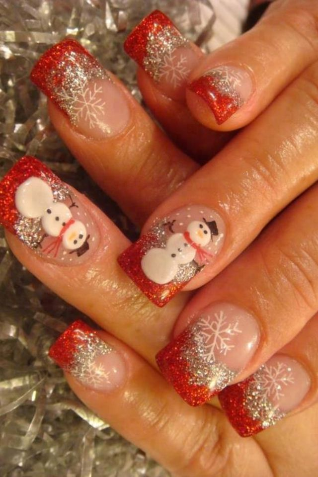 Christmas nails with snowmen and snowflakes