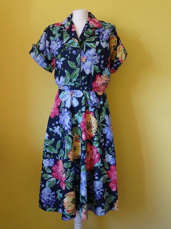 Miss Oops California Dress 80 S Floral Dress 1980 S Vintage Dress Summer Dress Mid Length Dress Size Etsy Vintage Clothes Vintage Clothes Shop Vintage Dresses