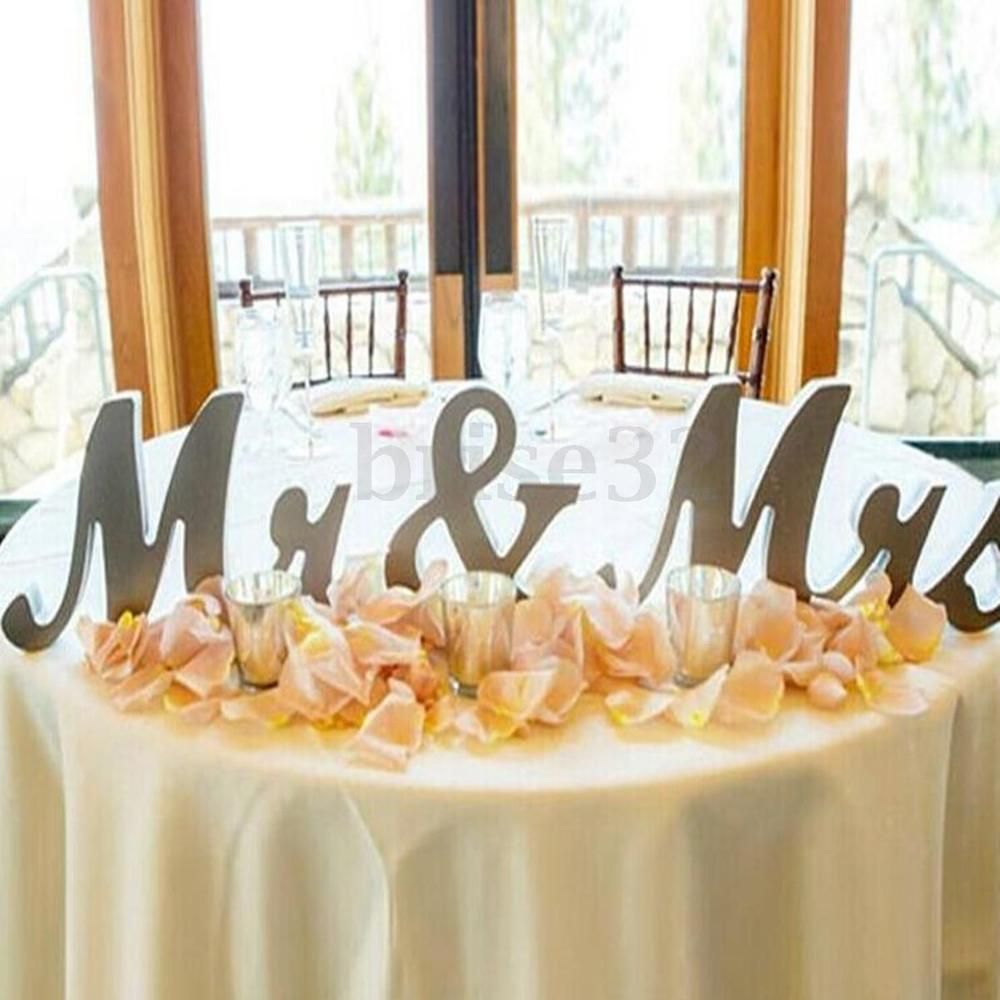 Mr & Mrs Shining Free Standing Letter Sign Table Large Wooden ...