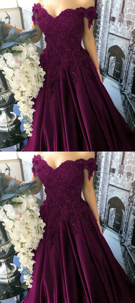 Burgundy Satin Ball Gown Wedding Dresses Lace V-neck Off The Shoulder