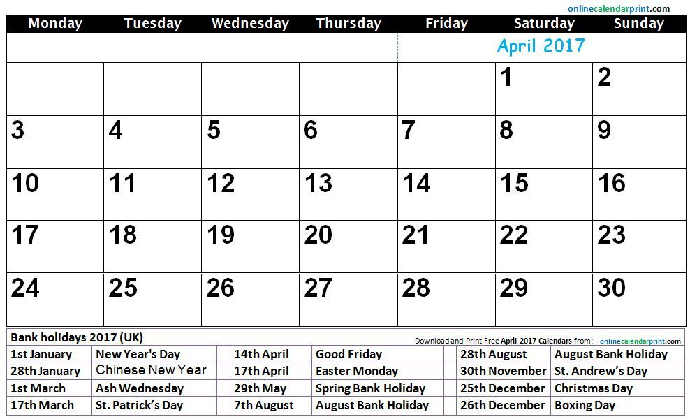 April  Printable Calendar  Calendar    Blank