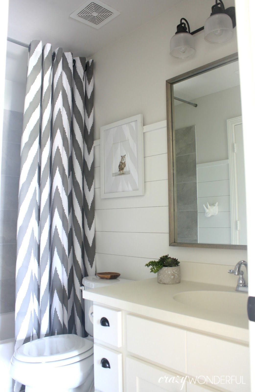 I started in on the kids\' bathrooms back in February. Shiplap was ...