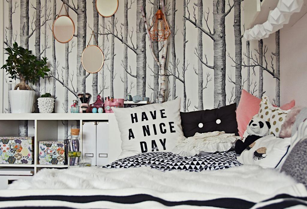 teenager mädchen zimmer - teen room makeover Birkenwald - gemutlichkeit zu hause strick woll fellmobel decken