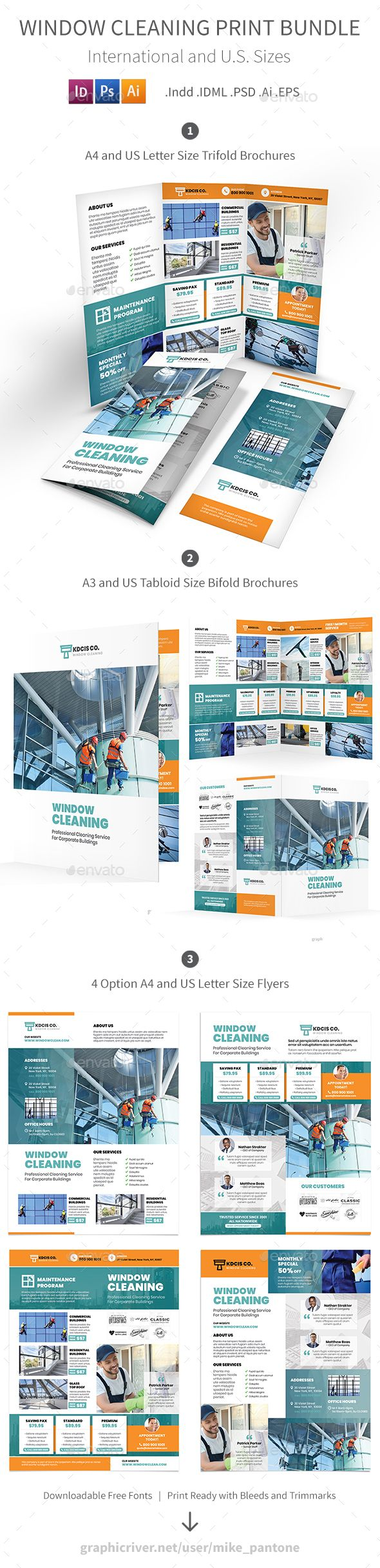 Cleaning Service Print Bundle | Cleaning service, Brochure template ...
