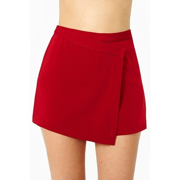 Sidewinder Skort ($30) ❤ liked on Polyvore featuring skirts, mini skirts, bottoms, red, asymmetrical mini skirt, zipper skirt, asymmetrical skort, red mini skirt and pocket skirt