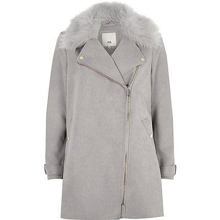 Grey faux fur collar swing coat | Faux fur collar coat ...