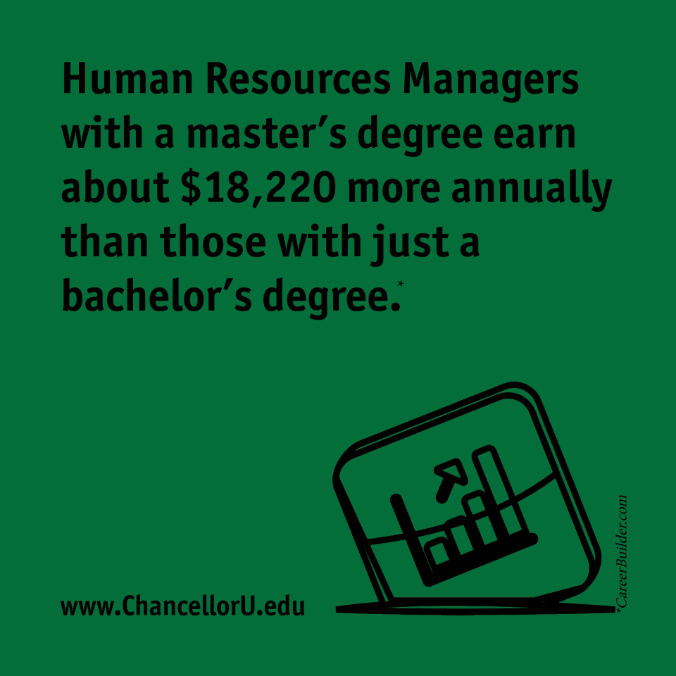 Human Resources Managers with a masters degree earn about 18220