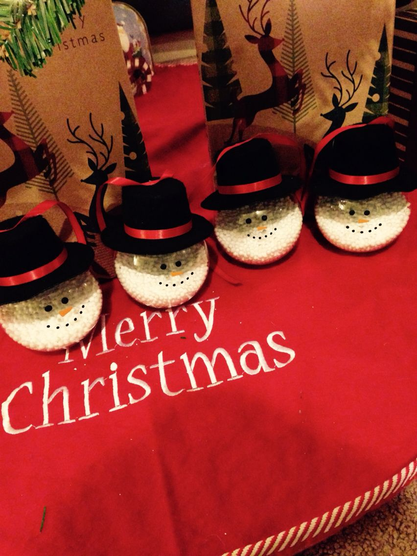 Diy Snowmen Ornaments Cost 5 Supplies You Will Need Hat I Found Mine At Michaels Ribbon Orange And Diy Snowman Ornaments Diy Snowman Snowmen Ornaments