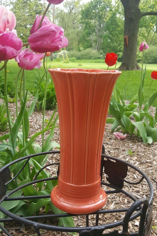Persimmon Med Fluted Vase Retired 0491 Book Piece Fiestaware 10