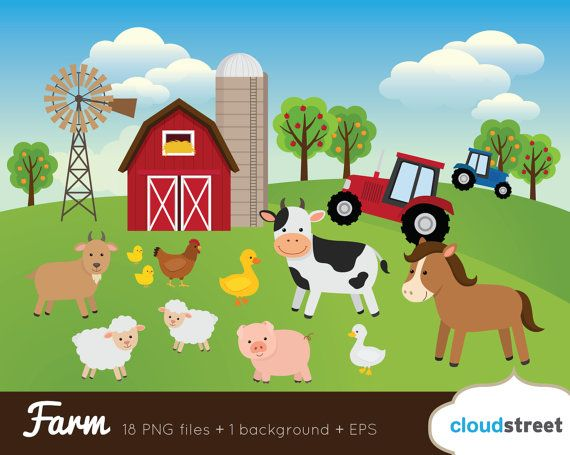 Buy 2 Get 1 Free Farm Clip Art Animals By Cloudstreetlab