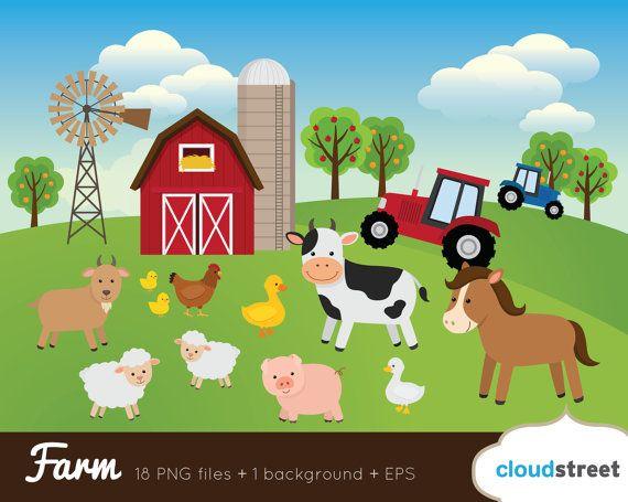 buy 2 get 1 free farm clip art farm animals by cloudstreetlab rh pinterest com free farm clipart images free farm clipart images