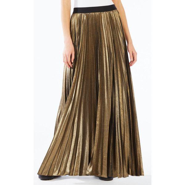 BCBGMAXAZRIA Dallin Pleated Metallic Maxi Skirt (385 CAD) ❤ Liked On  Polyvore Featuring Skirts