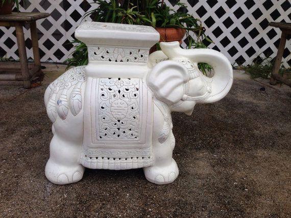 Vintage White Ceramic Elephant Plant Stand/Garden By TheLanai