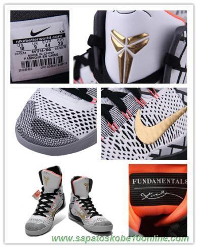 """sites de lojas de tenis """"Fundamentals"""" Nike Kobe 9 Elite 641714-100 Cinza"""