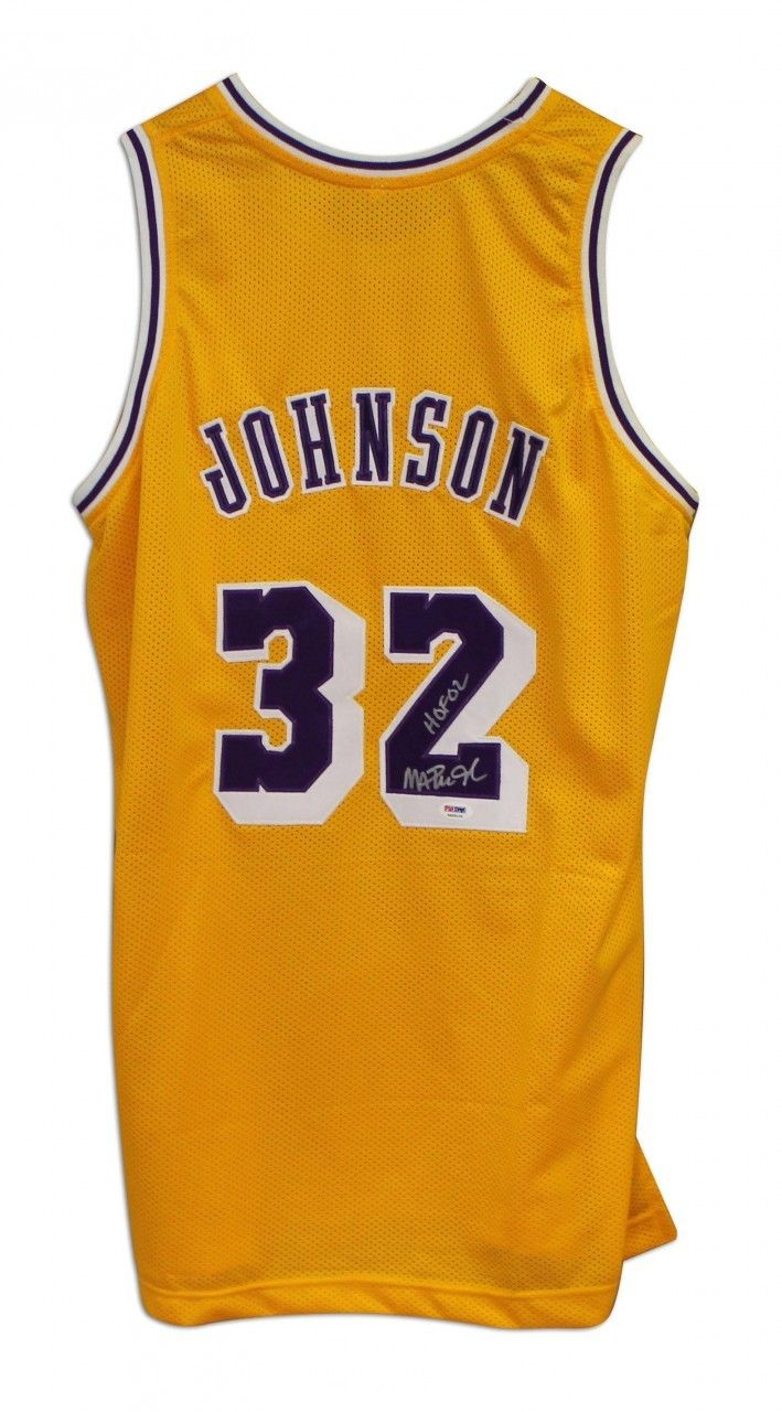 AAA Sports Memorabilia LLC - Magic Johnson Los Angeles Lakers Autographed  Yellow Throwback Jersey Inscribed