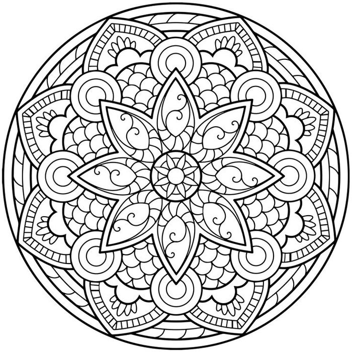 1001 dessins de mandala imprimer et colorer fleur. Black Bedroom Furniture Sets. Home Design Ideas