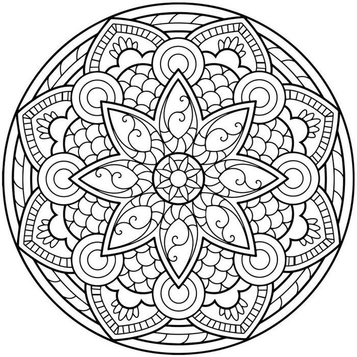 1001 dessins de mandala imprimer et colorer art pinterest coloriage mandala. Black Bedroom Furniture Sets. Home Design Ideas