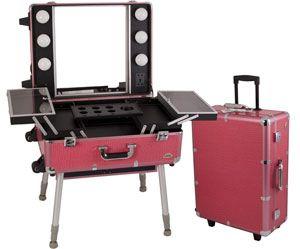 Portable Studio Makeup Case W Lights Mirror With Images Makeup Case Train Case