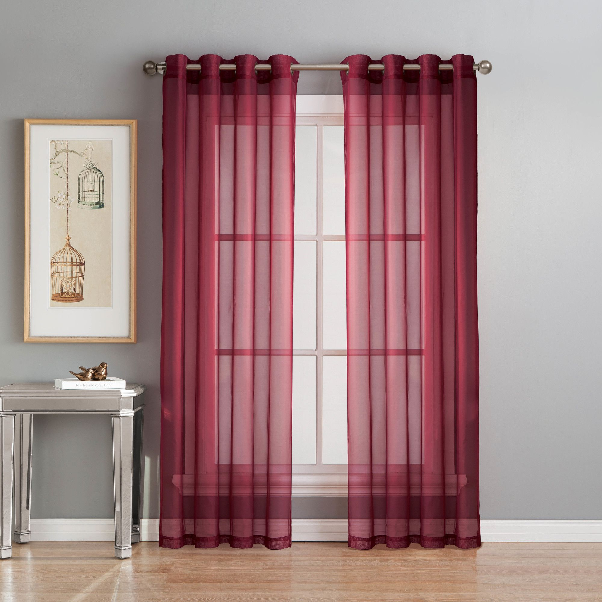 Diamond Sheer Voile Extra Wide Grommet Single Curtain Panel