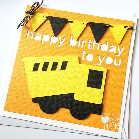 Little Construction Truck Birthday Card Digger Happy Etsy Birthday Cards Cards Kids Birthday Cards