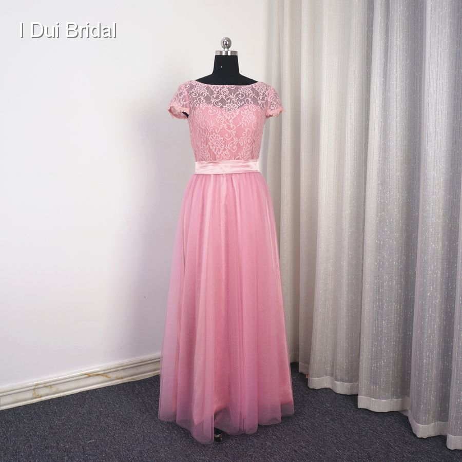 Pool blue bridesmaid dress a line short sleeve lace tulle with belt