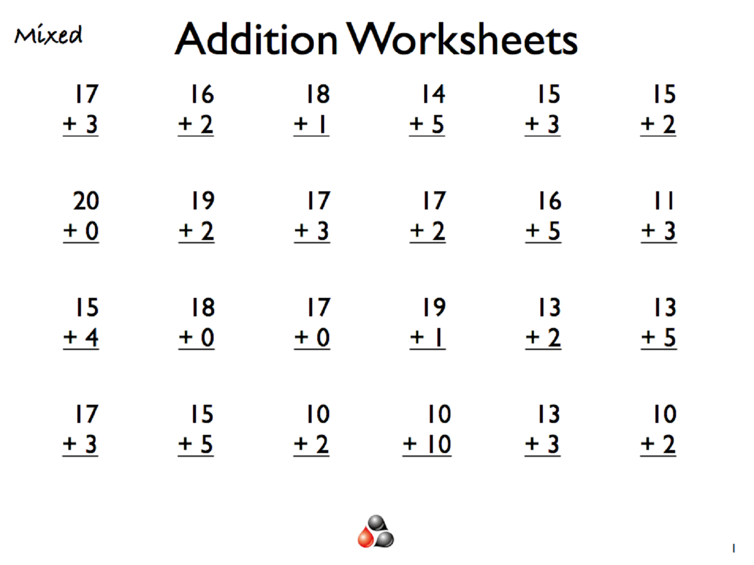 Free math worksheets for first grade addition and subtraction