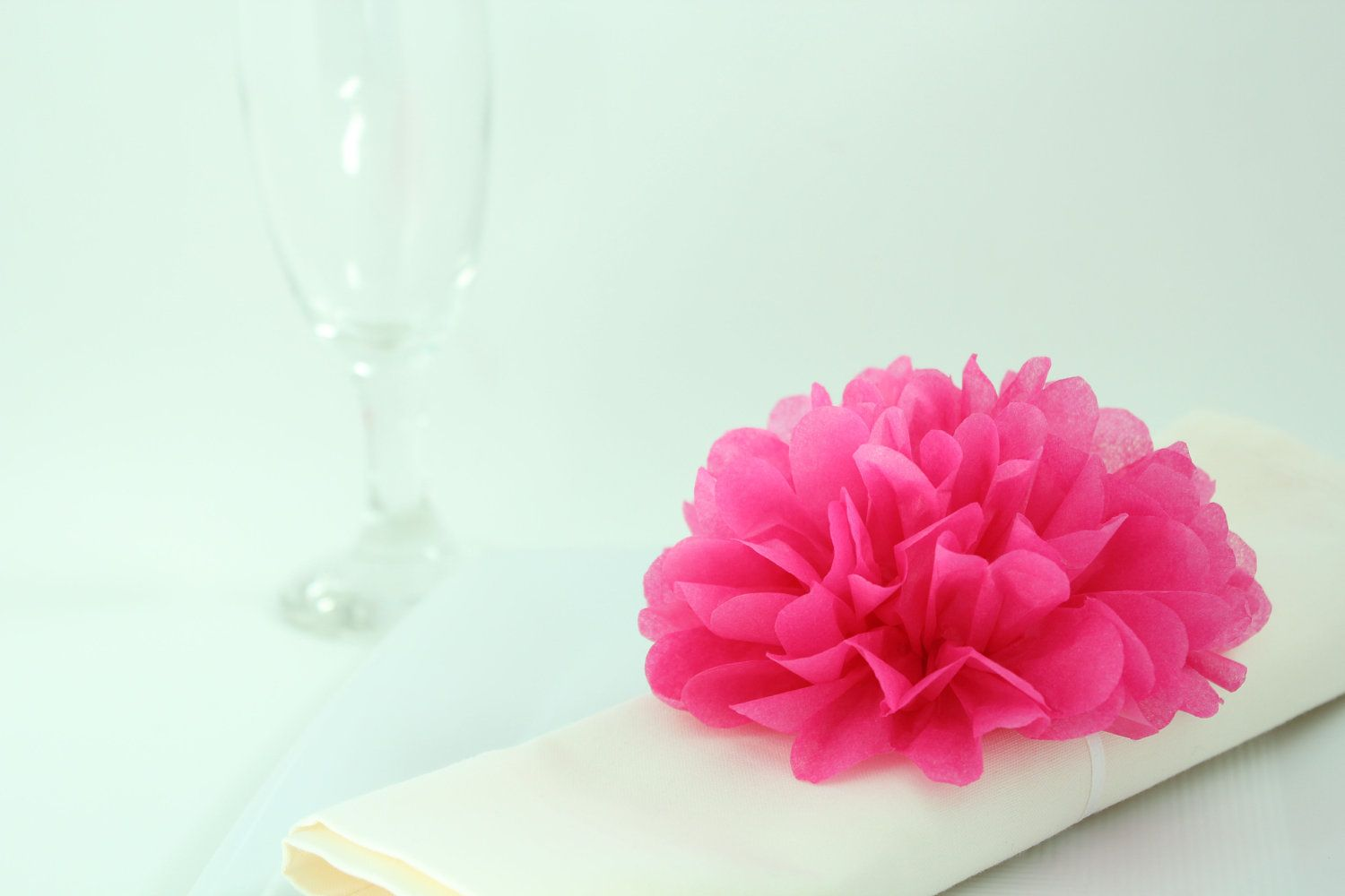 Tissue Paper Flower Napkin Rings 20 Hot Pink Wedding Decor