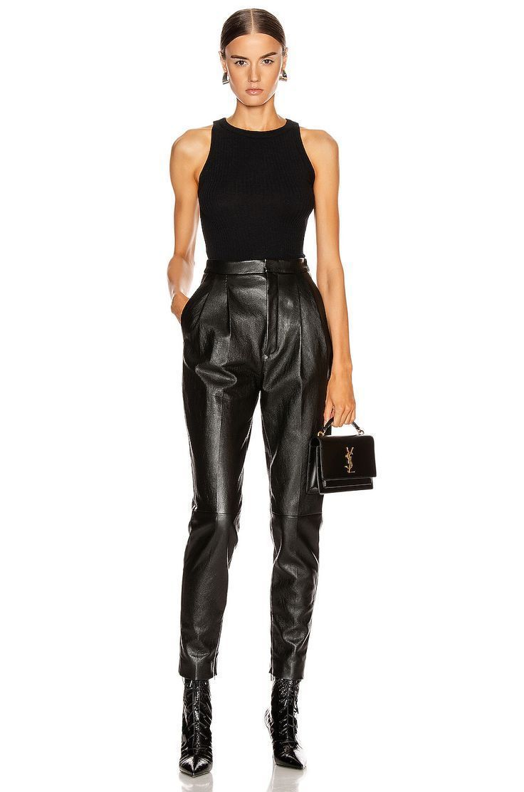 Enza Costa Cashmere Poor Boy Rib Tank in Black | FWRD #leatherpantsoutfit