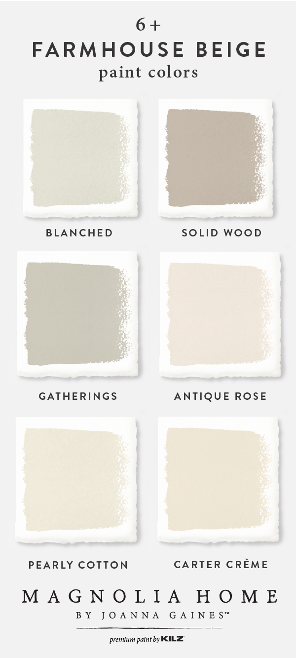 Joanna Gaines favorite beige farmhouse paint colors from Kilz. #fixerupper #paintcolors #bestbeige