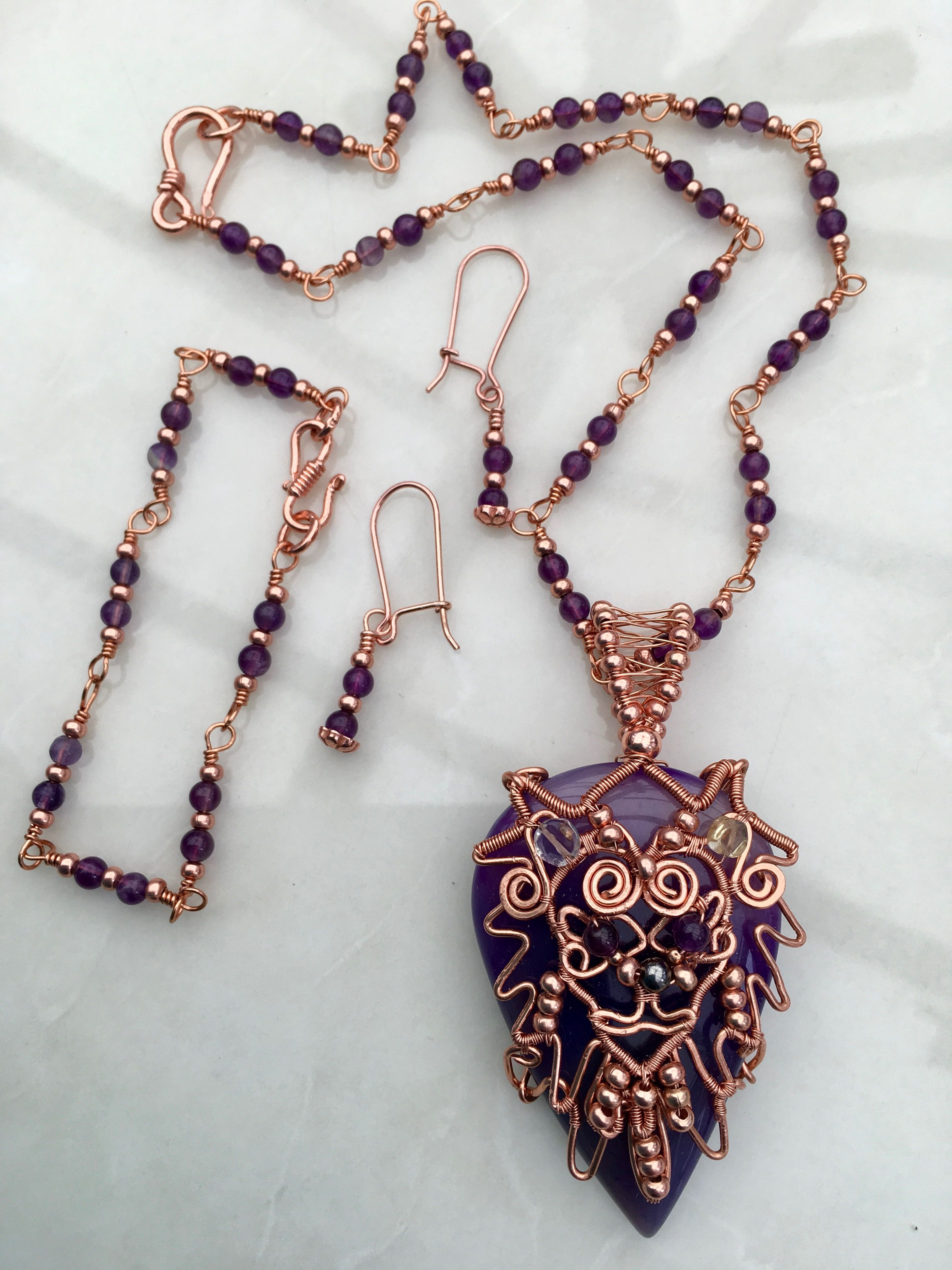 Wire wrapped lion purple onyx cabochon pendant, amethyst rosary ...