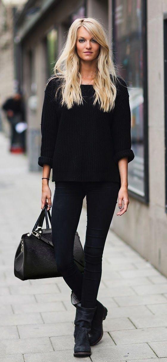tenue pull surdimensionn noir jean skinny noir bottes mi mollet en cuir noires sac fourre. Black Bedroom Furniture Sets. Home Design Ideas