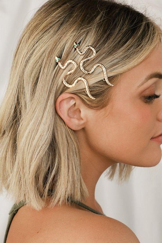 Medusa Gold and Green Snake Hair Clips #hairclips