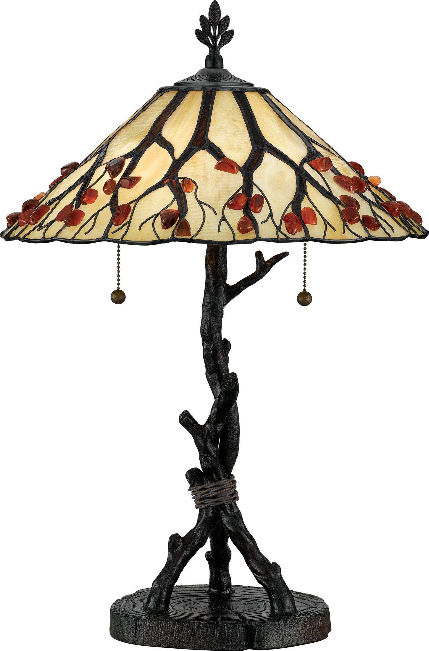 Quoizel ag711tva whispering wood 25 inch tiffany table lamp valiant bronze