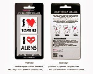 I love #zombie & I love #alien alien 2-in-1 Microfiber Screen Cleaner Sticker for #phone #accessories #gifts #x-mas #batb #apple