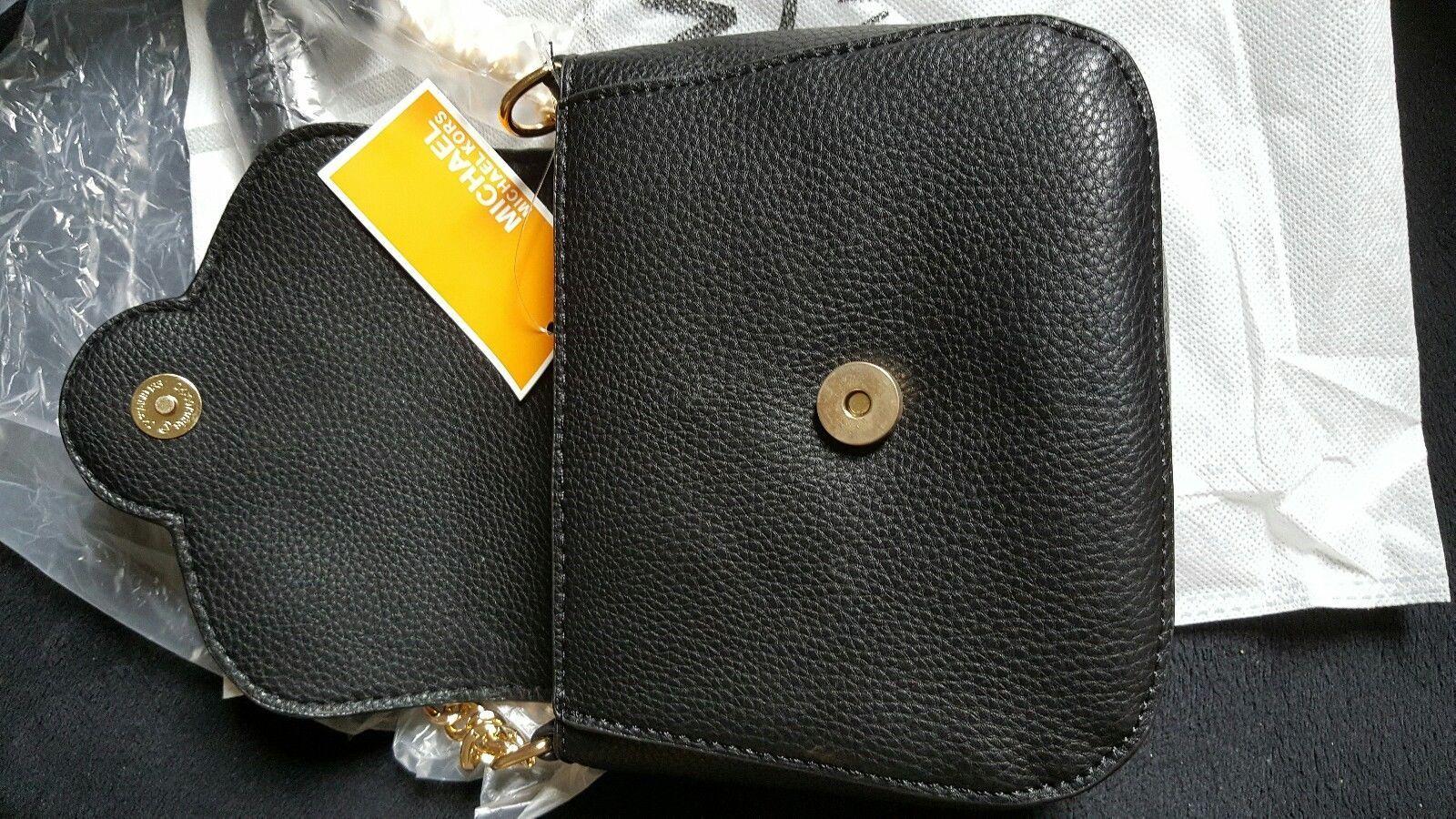800c588cee0f MICHAEL Kors Black Small Crossbody Bag Purse MK Logo Flap  42.5 ...